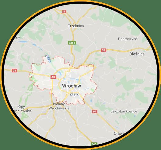 Mapa przedstawiająca granice Wrocławia